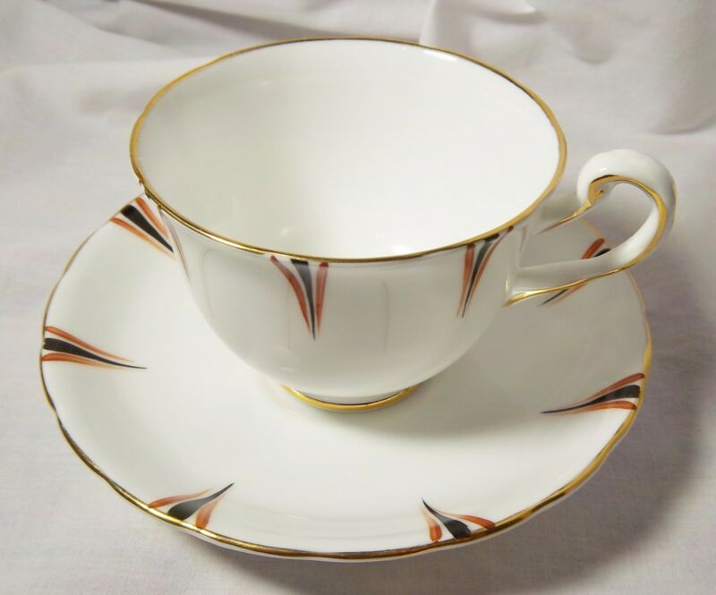 VINTAGE ROYAL CHELSEA ENGLISH CHINA CUP AND SAUCER BLACK RUST GOLD TRIM