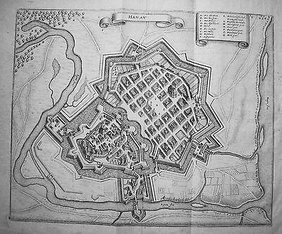 Hanau Kinzig Main  seltener echter alter  Merian Kupferstich  1645