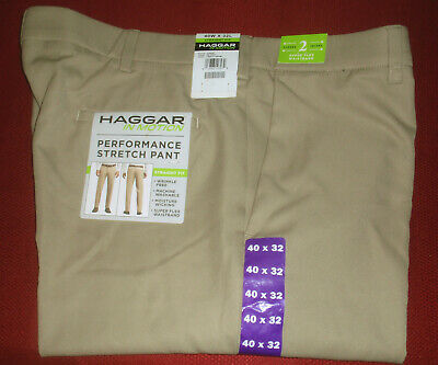NWT **40x32 HAGGAR IN MOTION STRAIGHT Fit FLAT Front STRETCH PANTS HC00300 KHAKI