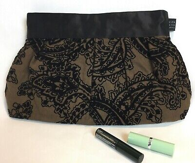 1154 Lill Studio Clutch Canvas Brown Taupe with Black Paisley Patterned Velvet Lill Studio