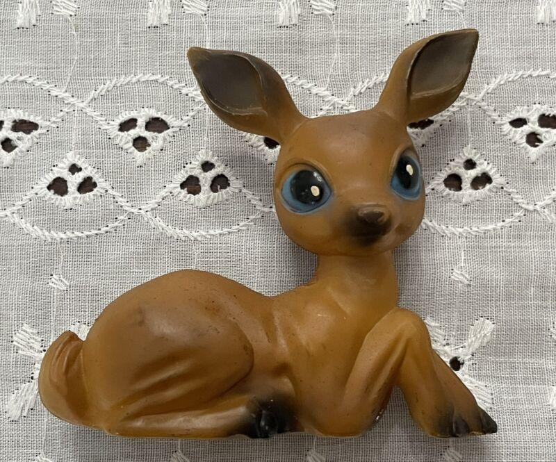 Vintage Reindeer Fawn Deer Plastic Figurine Big Blue Eyes Brown Figure Christmas