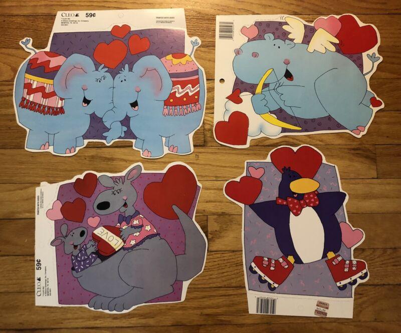 4 Vintage Cleo Valentine Die Cut Cardboard Decorations.