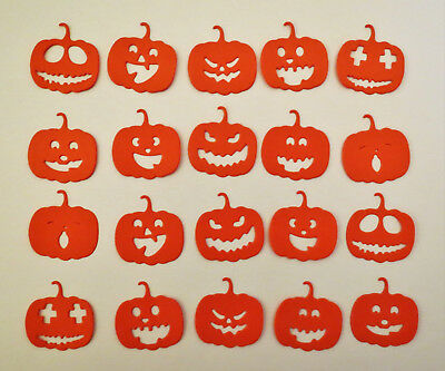 20 Halloween Pumpkin Face Die Cut Jack O Lantern Cardstock Card Making Scrapbook](Making Halloween Cards)