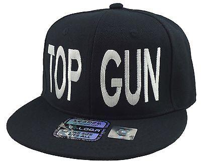 TOP GUN Flat Bill  Snapback Hat  Black - Top Gun Hat
