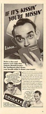 1944 WW2 era AD COLGATE Dental Cream Sailor ' Kissin your Missin '  041516