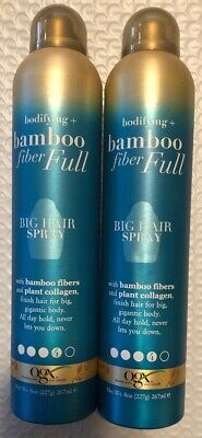 2 X OGX Bodifying + Bamboo Fiber Full Big Hair Spray With Plant Colleges 8 oz Ea Big Bamboo Plants