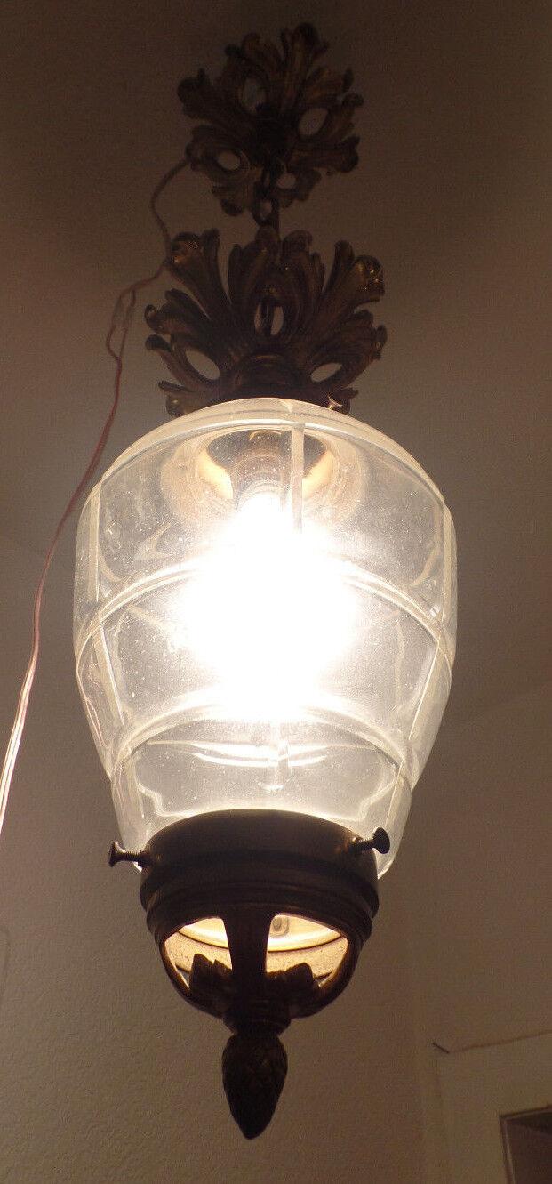 antike jugendstil deckenlampe bronze glaskuppel eur 213 00 picclick de. Black Bedroom Furniture Sets. Home Design Ideas