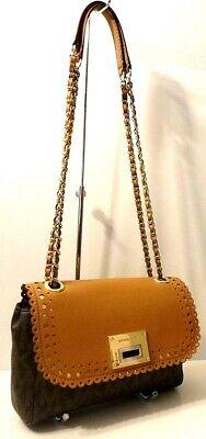 Michael Kors AS-IS MK Print Saffiano Leather Trim Crossbody Shoulder Bag Purse