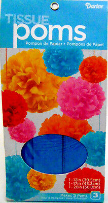 NEW Darice Tissue Pom Poms Set of 3 Turquoise Small Medium & Large Party - Turquoise Party Decorations