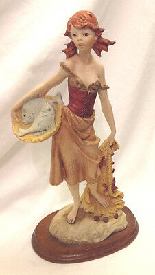 Statue   Figurine Red Headed Lady Holding A Basket Of Fish   Net Wooden Base 12