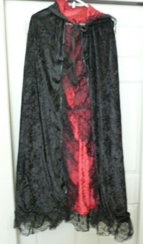 Black Crushed Velvet Look Cape w/ Red Lining & Lace Trim One Size Fits All