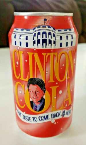 Vintage President Bill Clinton Cola Can- Empty - Opened On Bottom