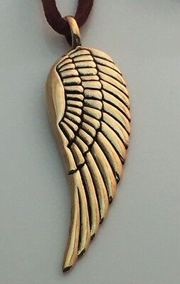 Angel Pendant Gold Bronze Large Guardian Angel Wing on 20 inch Leather cord