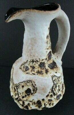 """VINTAGE WEST GERMANY POTTERY HOT LAVA PITCHER Approx. 9"""" Tall"""
