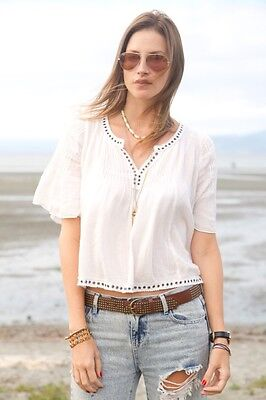NWT RALPH LAUREN DENIM&SUPPLY LADYS IVORY COTTON BELL SLEEVE PEASANT TOP SIZE XS
