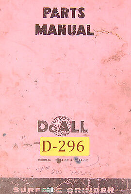 Doall D-824-10 And D824-12 Surface Grinder 130 Page Parts List Manual