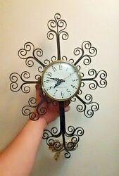 General Electric Wall Clock Mid Century Metal Scroll Cross Starburst 2086 Rare
