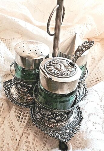 Antique Embossed Silver Marked 800B Green Glass Condiment and Caddy Set