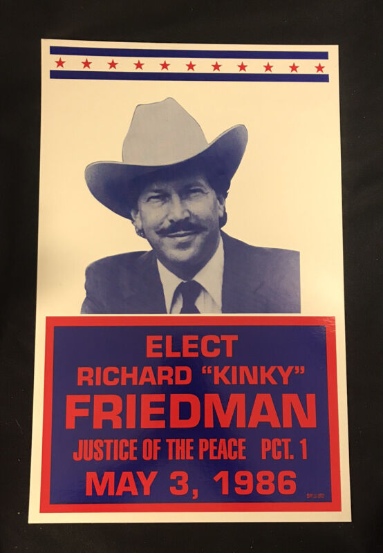 """Richard """"Kinky"""" Friedman Poster  Justice of the Peace  1986  Country Music"""