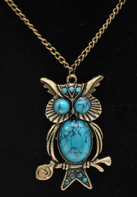 Owl Pendant Necklace Gold Tone Chain Faux Turquoise Fashion Statement