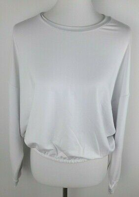 Fabletics Women's Size L White Monica Cinched Pullover Cropped Long Sleeve Top