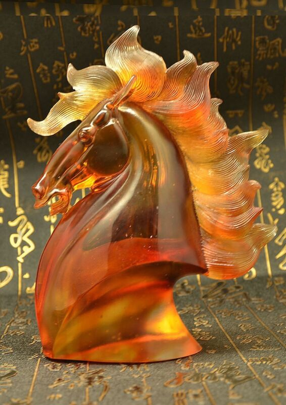 Chinese Fengshui Horse Head Bust Crystal Sculpture
