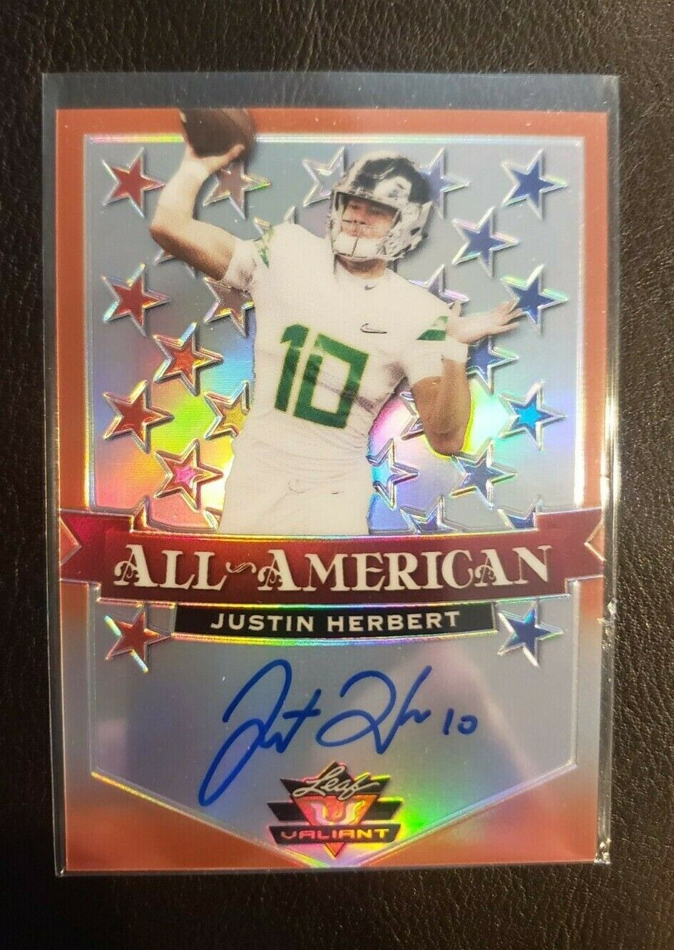 2020 LEAF ALL AMERICAN JUSTIN HERBERT ORANGE AUTO 27/50 ON CARD  - $101.00