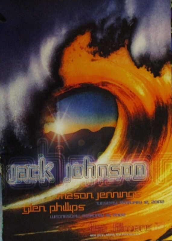 JACK JOHNSON FILLMORE POSTER Glen Phillips MASON JENNINGS Original F510 Wiedeman