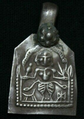 Amulet/Pendant Of Goddess Parvati With 4 Hands Print On Silver Amulet E.NO S-361