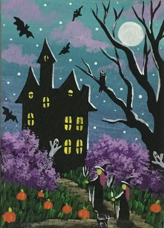 ACEO Original Halloween Mini Acrylic Sketch Card Trick-r-treating witches ghosts