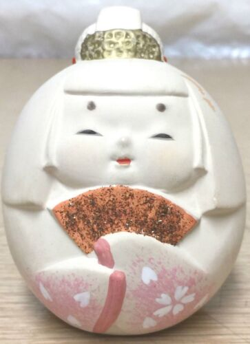 Japanese Bell Japan Asian Geisha Girl Pottery Clay Vintage Kimono