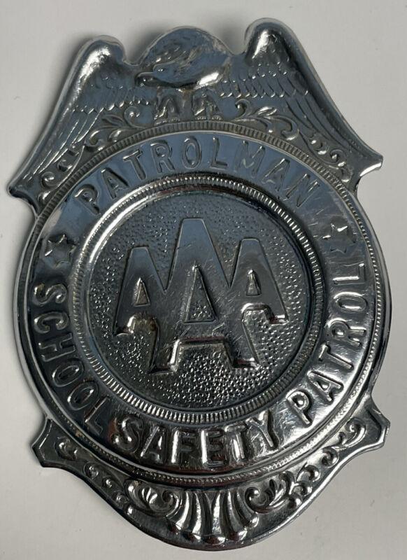 Vintage Grammes AAA School Safety Patrol Badge Pinback Patrolman