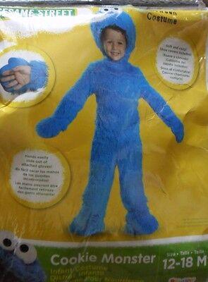 SESAME STREET COOKIE MONSTER FUZZY INFANT HALLOWEEN COSTUME 12-18MTH NEW - Infant Cookie Monster Costume