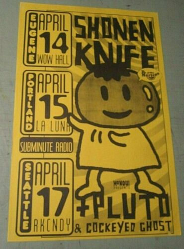 Shonen Knife + Pluto + Cockeyed Ghost 1997 Original Concert Show Poster