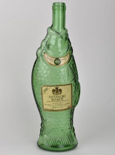 "Vintage Antinori Soave Green Glass Empty Fish Wine Bottle 1980 Italy 13"""