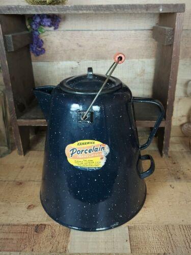 Large Dark Blue Speckled Enamelware Cowboy Coffee Pot Graniteware Original Label