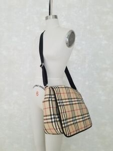 Authentic Burberry Cross Coated Canvas Body Messenger Bag - Diaper or Laptop