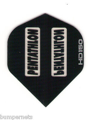 3 New Sets of Black Pentathlon HD 150 Dart Flights Standard Size Extremely Thick