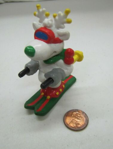 New Vintage CHRISTMAS WHITE REINDEER PVC Figure Toy Skier Sun Arrow/Applause
