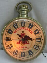Vintage Budweiser Corded Electric Pocketwatch Style Wall Clock Lights up
