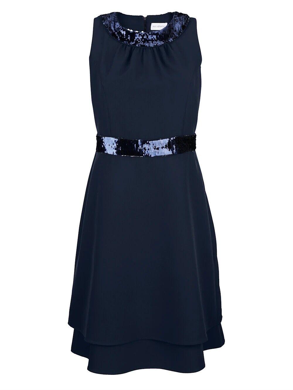 Amy Vermont Kleid mit Wendepailletten in marine, Gr. 44