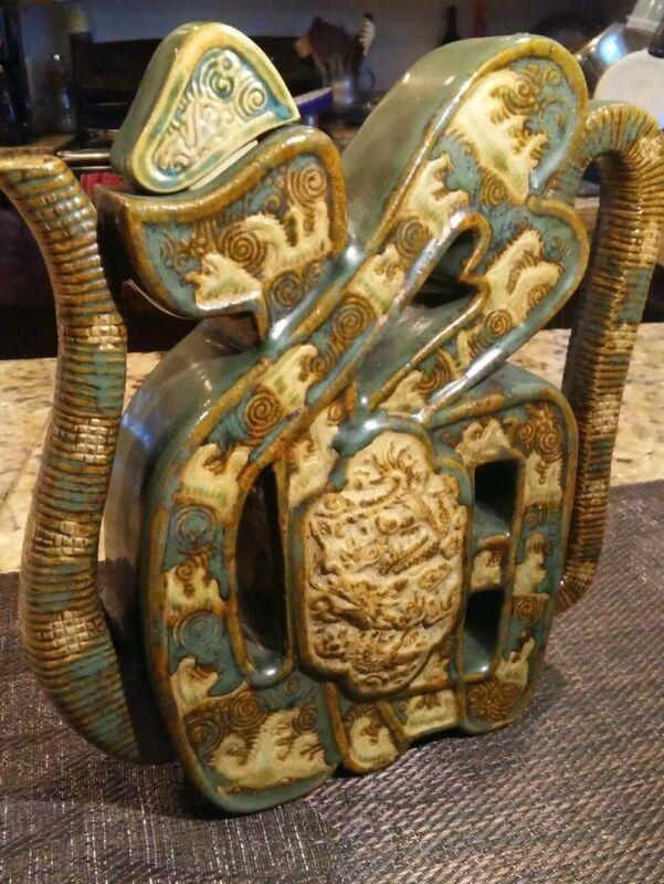 "ANTIQUE & RARE VIETNAM pottery FAMILLE VERTE ""Fu"" DRAGON Wine TEA POT- Marked"