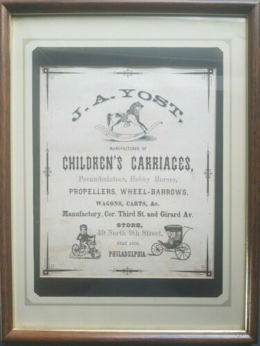 Framed J.A. Yost Childrens Carriages Advertisement Philadelphia
