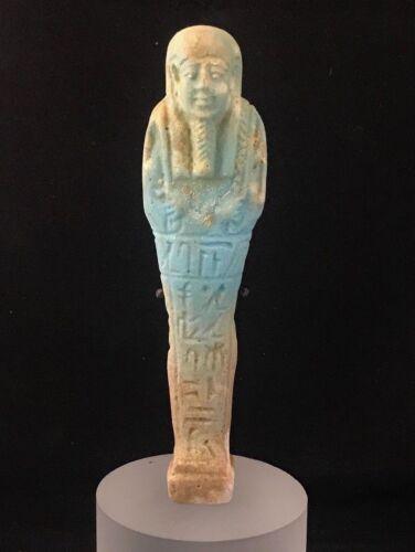 ANCIENT EGYPTIAN FAIENCE USHABTI - TRANSLATED - LATE PERIOD 380-343 B.C