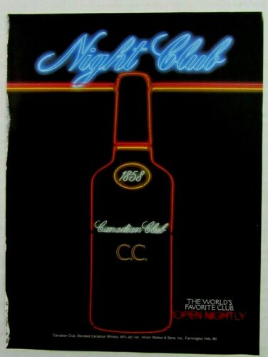 1994 CANADIAN CLUB Blended Canadian Whisky Magazine Ad - Neon Lights