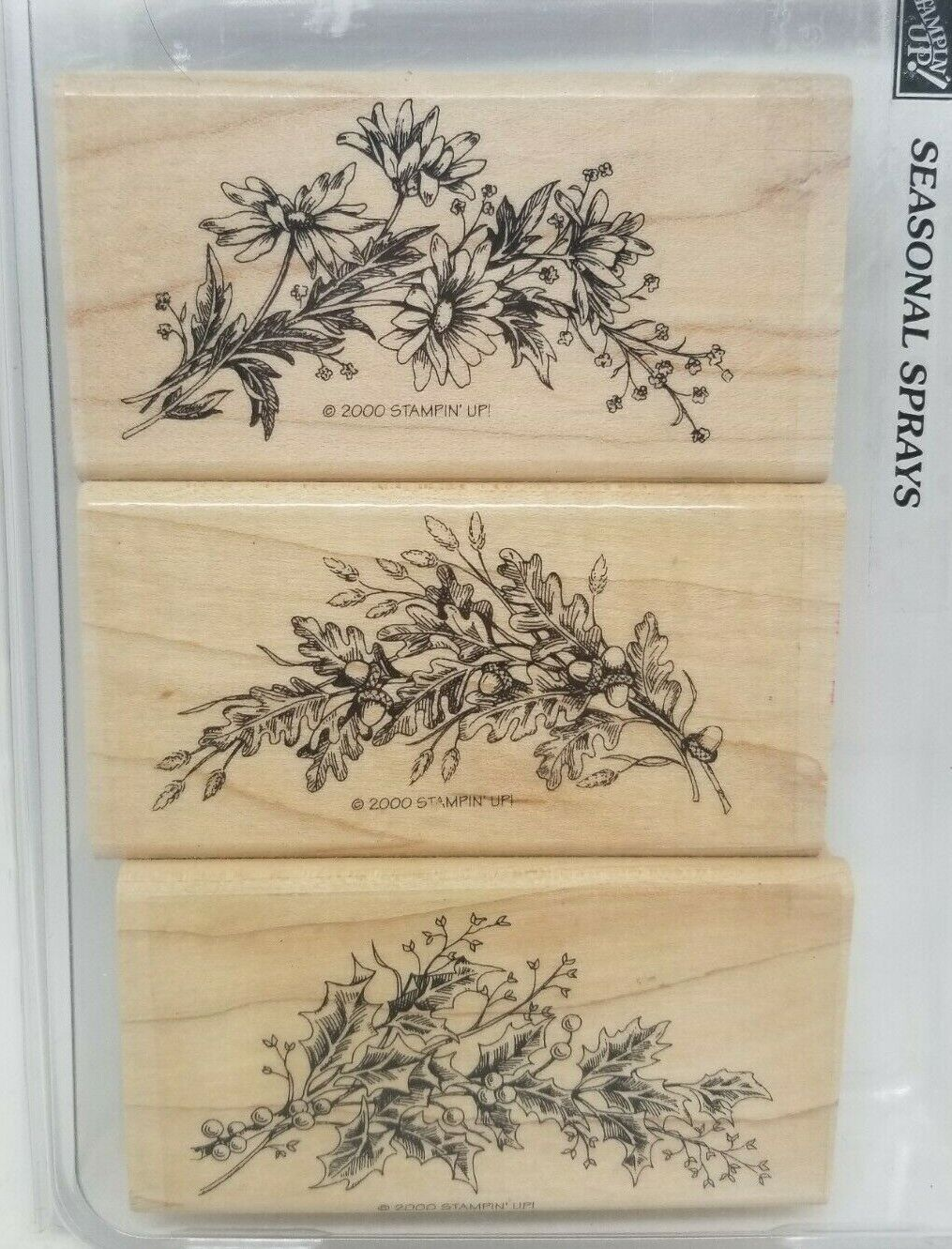 Stampin Up Seasonal Sprays Wood Mount Rubber Stamps Floral Holly Acorns Leaves - $14.99