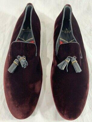 LOUIS LEEMAN Burgundy Velvet Tassel Loafers Marked as 42 8.5US