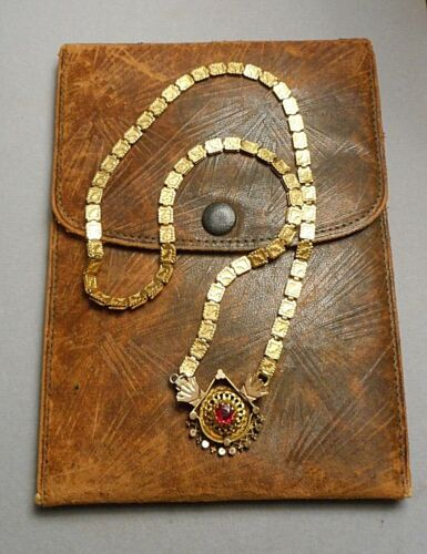 Antique Victorian Gold-Filled Book Chain Necklace w Ornate Medallion & Red Stone