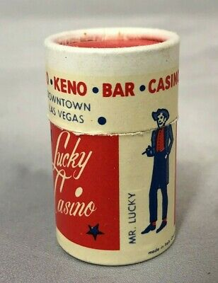 LUCKY CASINO Downtown LAS VEGAS Round MATCH BOX Vintage Advertsng FULL Matchbook
