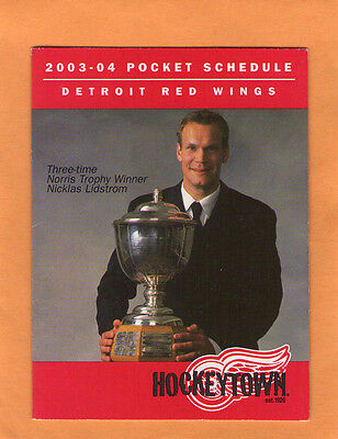 2003-04  NHL HOCKEY DETROIT RED WINGS GAME POCKET SCHEDULE